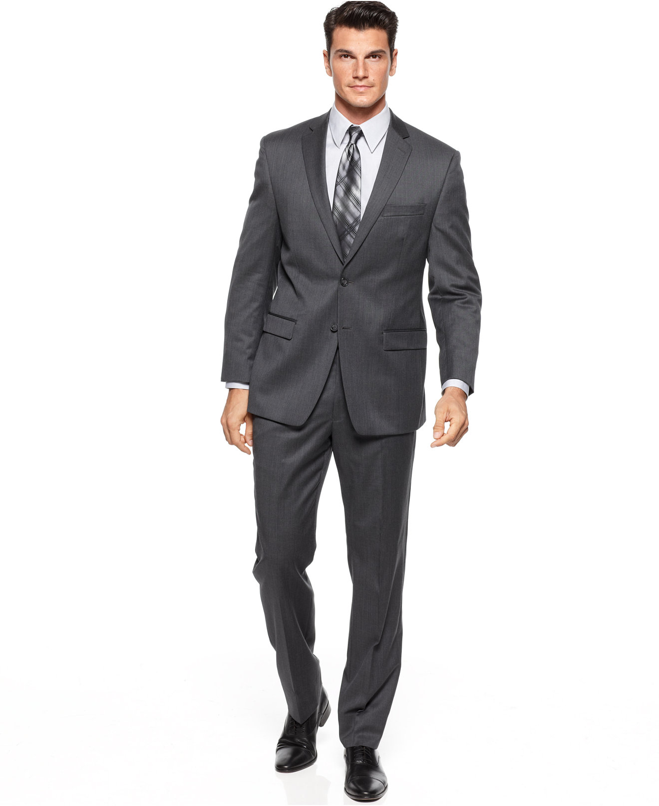 Calvin Klein Charcoal Solid Slim-Fit Suit | Blingby
