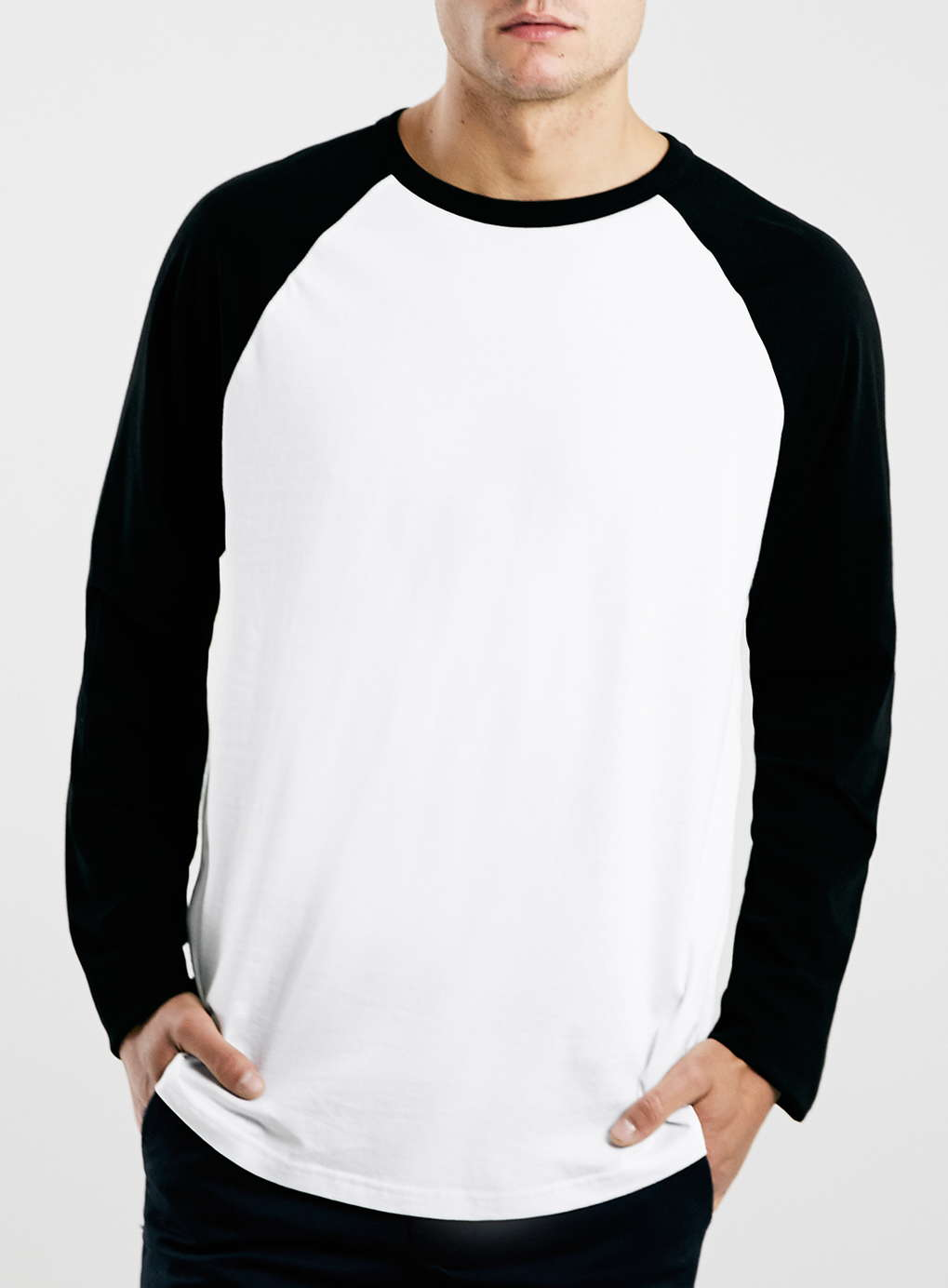 White/Black Contrast Raglan Long Sleeve T-Shirt | Blingby