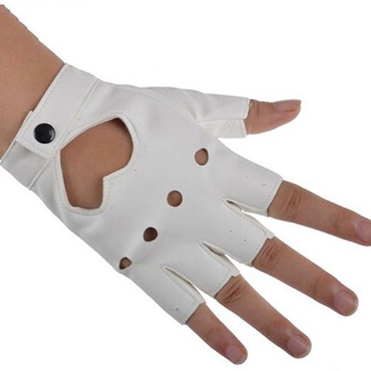 Tenflyer Women PU Leather Motorcycle Bike Car Fingerless Performance Gloves