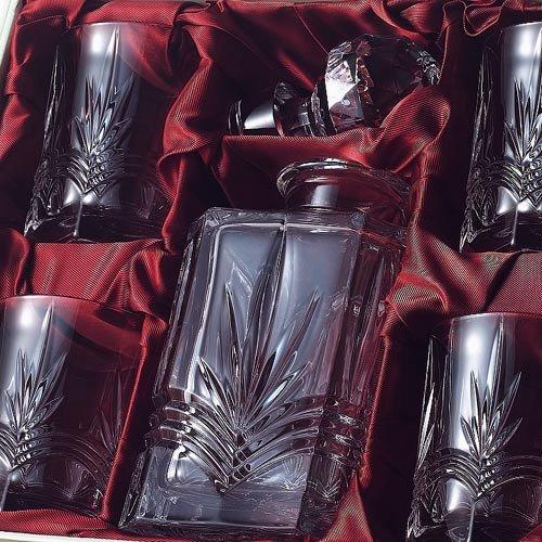 Irish Galway Crystal Whiskey Decanter & 4 Glasses Set from the Kells Range