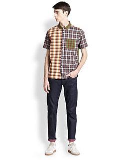 Marc By Marc Jacobs Multi Plaid Patchwork Shirt