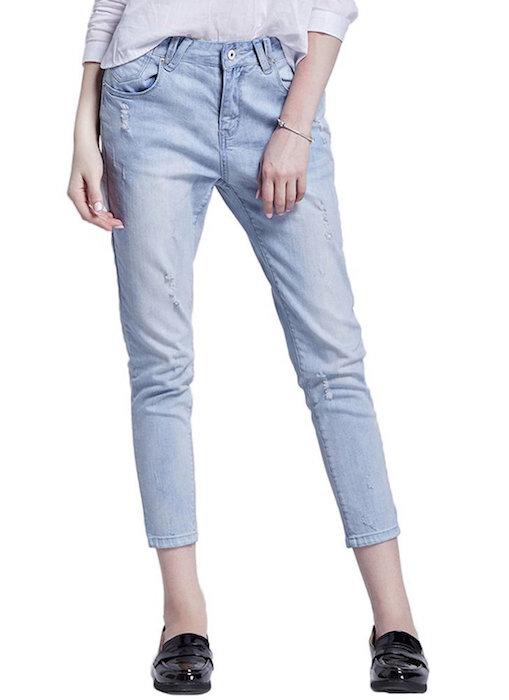 TideGG Women's Summer Destroyed Loose Printed Baggy Denim Haren Long Pants