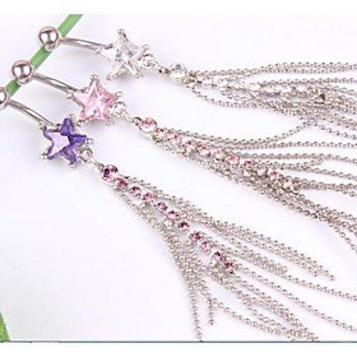Nierstein Star Zircon Long Dangle Navel Belly Ring Girl's Earring Body Piercing Jewelry