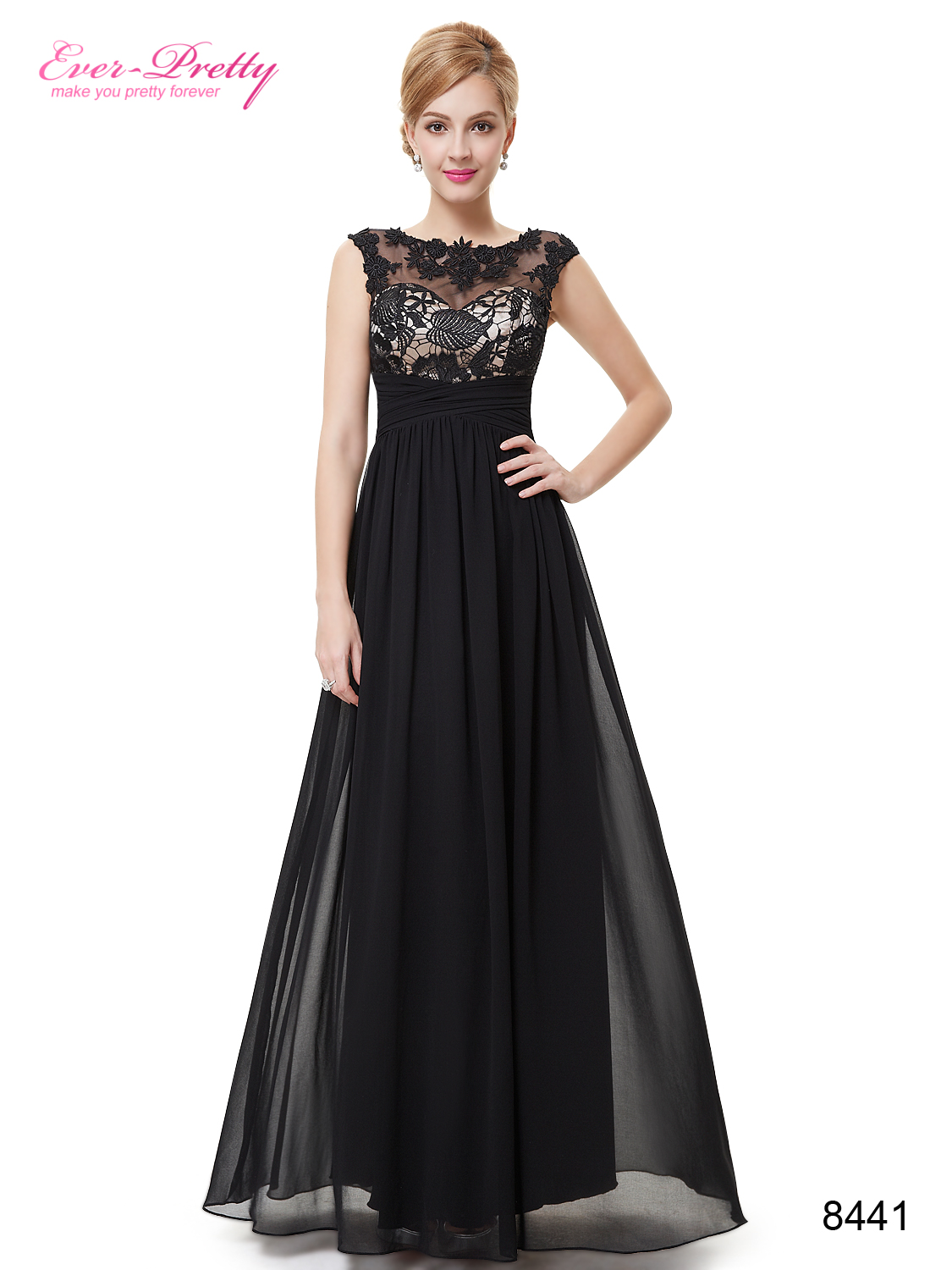 Ever Pretty Lace Illusion Neckline Long Evening Dress | Blingby