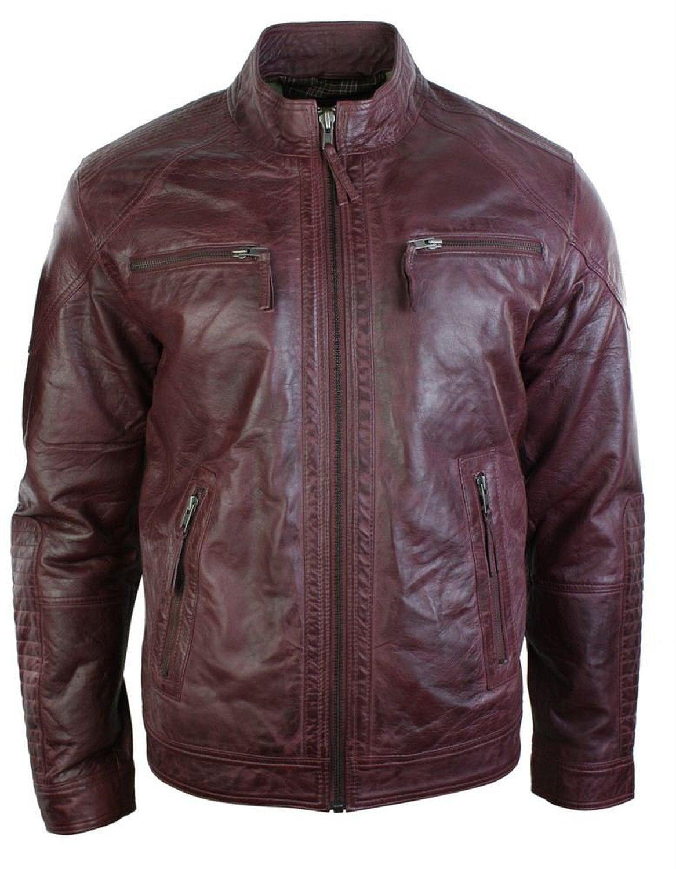 Mens Retro Style Zipped Biker Jacket Real Leather Burgandy Wine Maroon Vintage