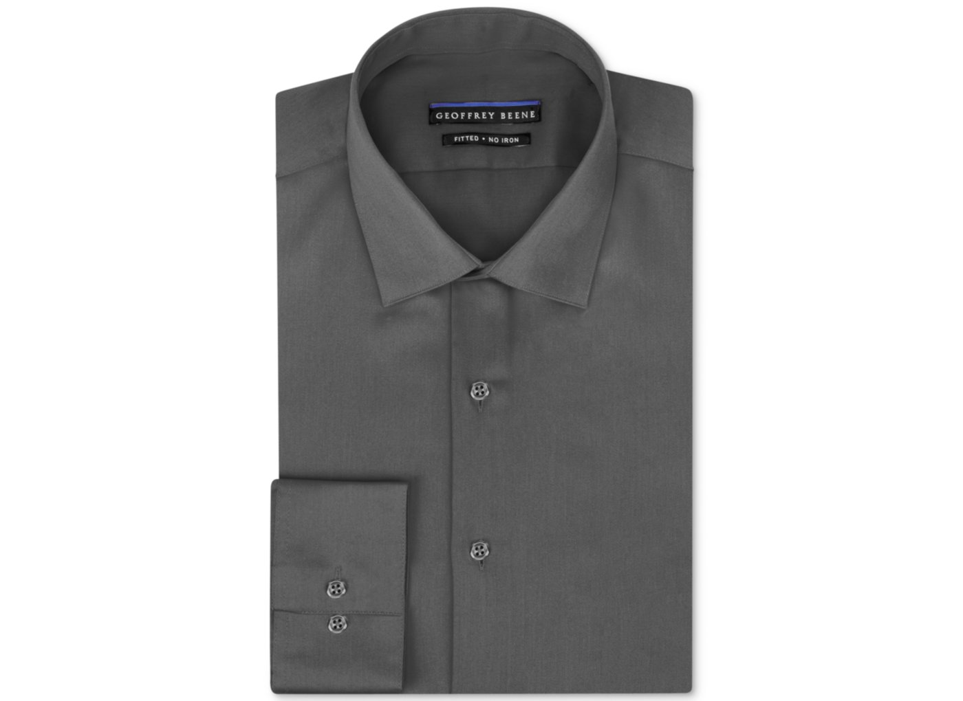 Geoffrey Beene Non Iron Fitted Stretch Sateen Solid Dress Shirt