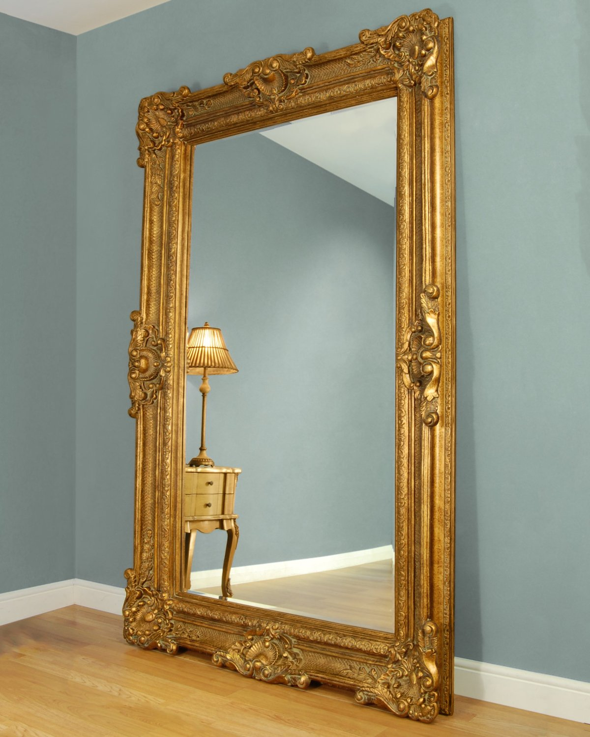C M Bridgewater Large Gold Framed Leaner Mirror Blingby
