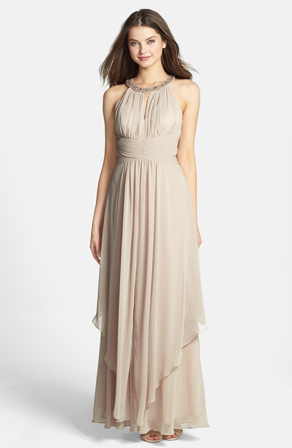 Embellished Tiered Chiffon Halter Gown | Blingby
