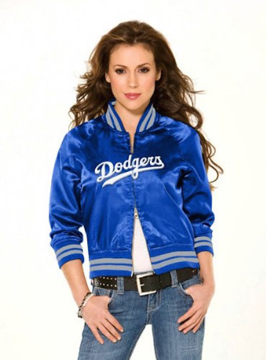 Los Angeles Dodgers Women s Classic Satin Baseball Collar Jacket - by  Alyssa Milano a225a56b24