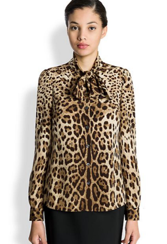 e18f7df7b36f Dolce & Gabbana -Leopard Print Silk Blouse   Blingby