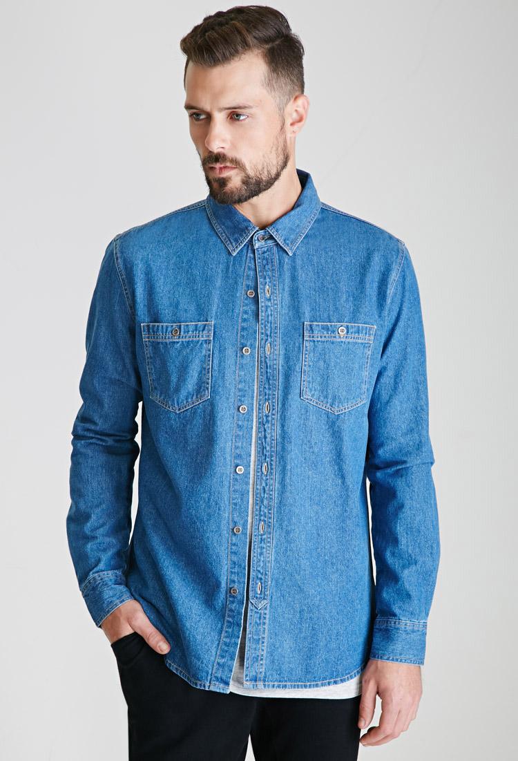 Denim button down shirt blingby for Denim button down shirts