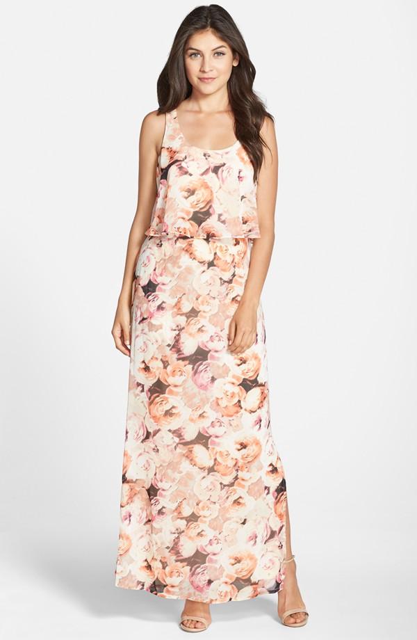d9a813561177c Eliza J Floral Print Chiffon Popover Maxi Dress | Blingby