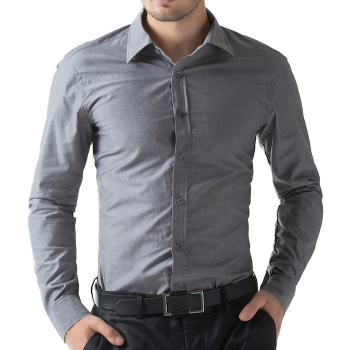 Paul jones mens slim dress shirts dark grey blingby for Dark grey shirt dress