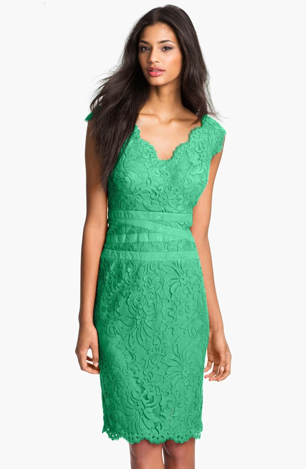 Tadashi Shoji Embroidered Lace Sheath Dress Regular Petite Blingby
