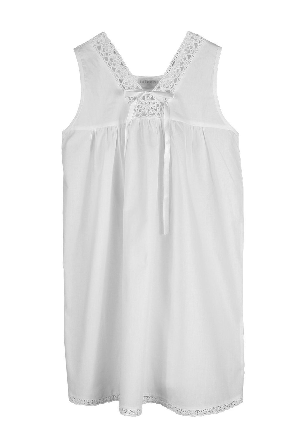 Taleen Handmade Embroidered Tatting Lace Girl Nightgown, 100% Cotton ...