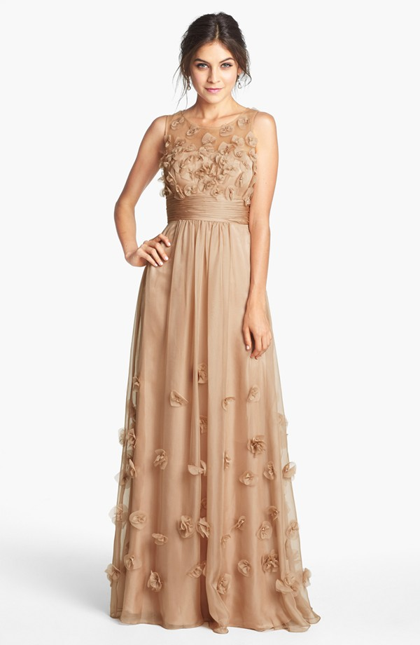 JS Collections Floral Applique Chiffon Gown   Blingby