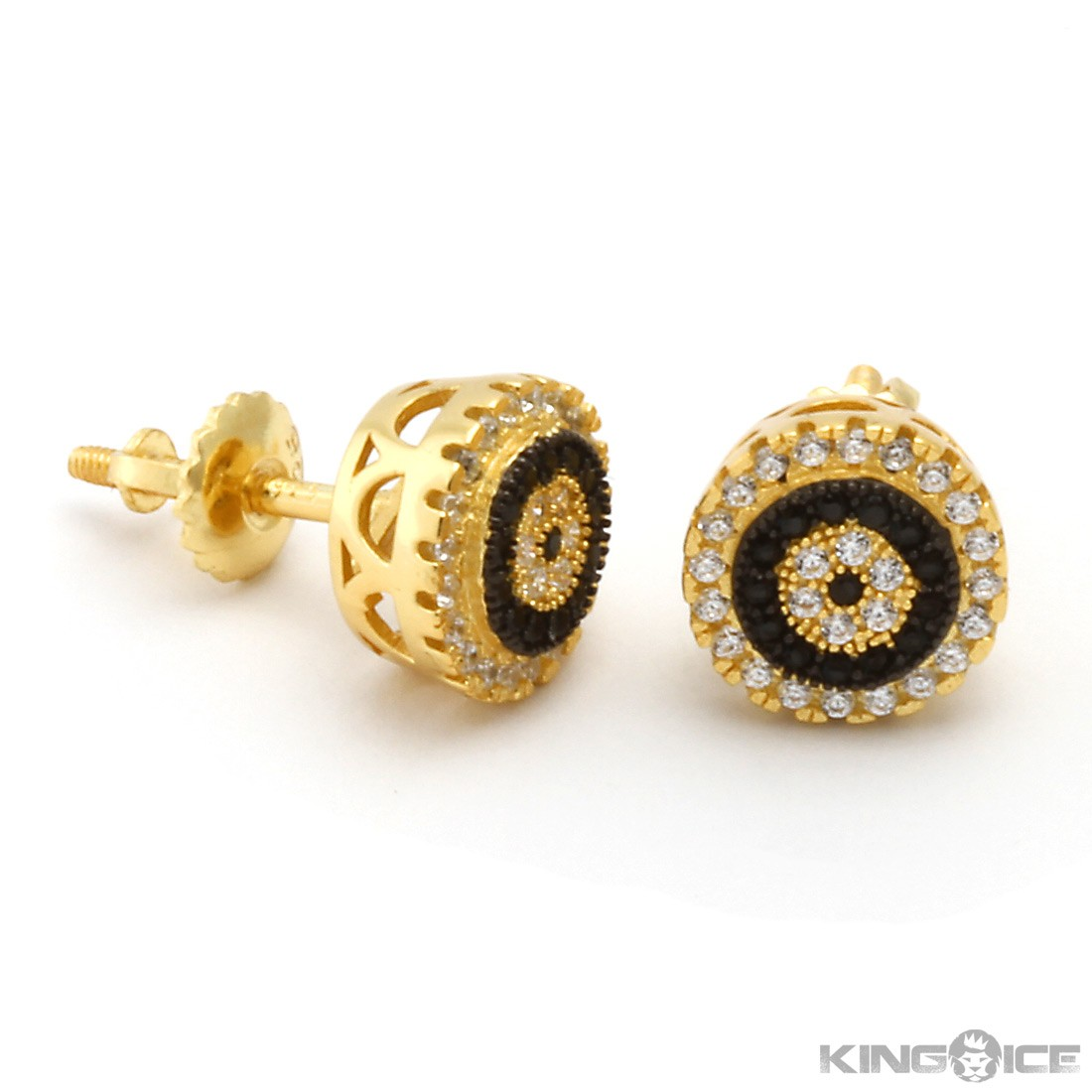 King Ice 14k Gold Round Cz Earrings