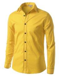 Mens Yellow Button Up Shirt   Is Shirt
