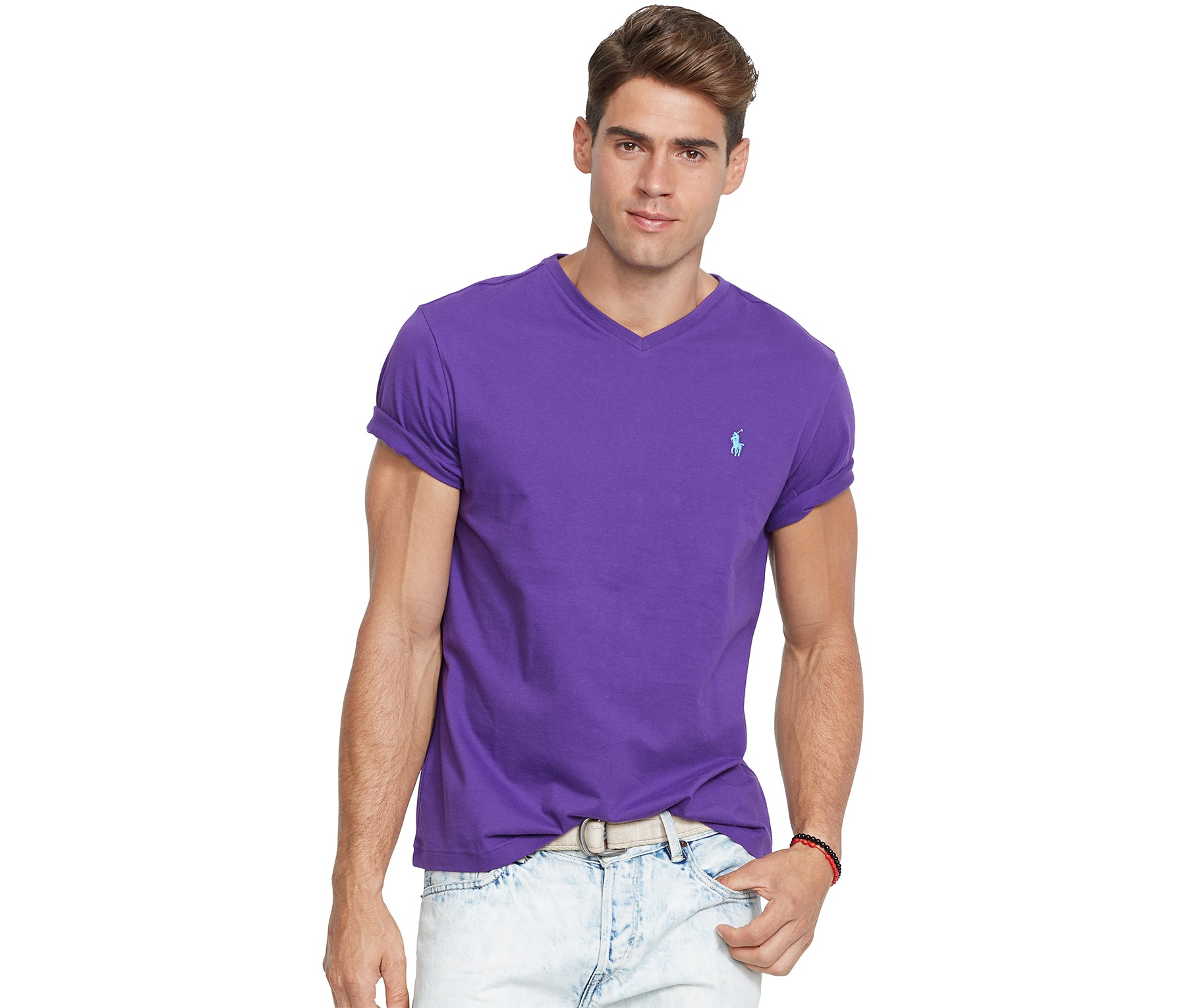polo ralph lauren jersey v neck t shirt purple blingby. Black Bedroom Furniture Sets. Home Design Ideas