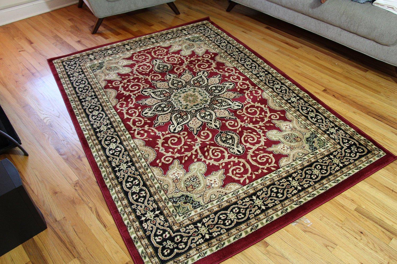 burgundy green beige black beige 5x7 isfahan area rug oriental carpet large new 653 - 5x7 Rugs