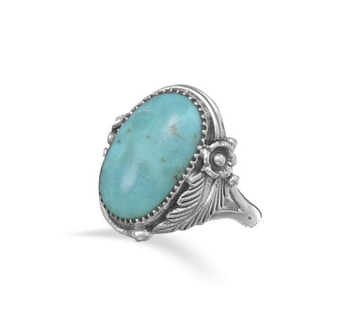 Kailees Jewelry Box Oval Turquoise Ring, Size 6