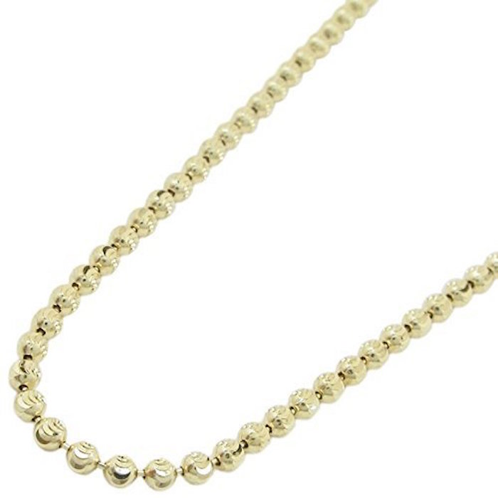 10K YELLOW Gold MOON Cut HOLLOW Chain 28 Inches Long; 6MM Wide