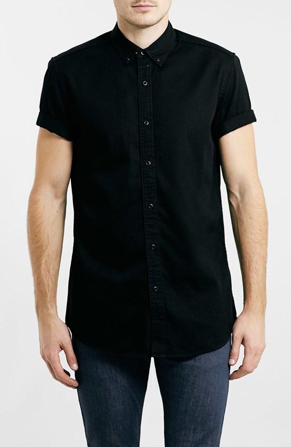Topman Short Sleeve Twill Shirt