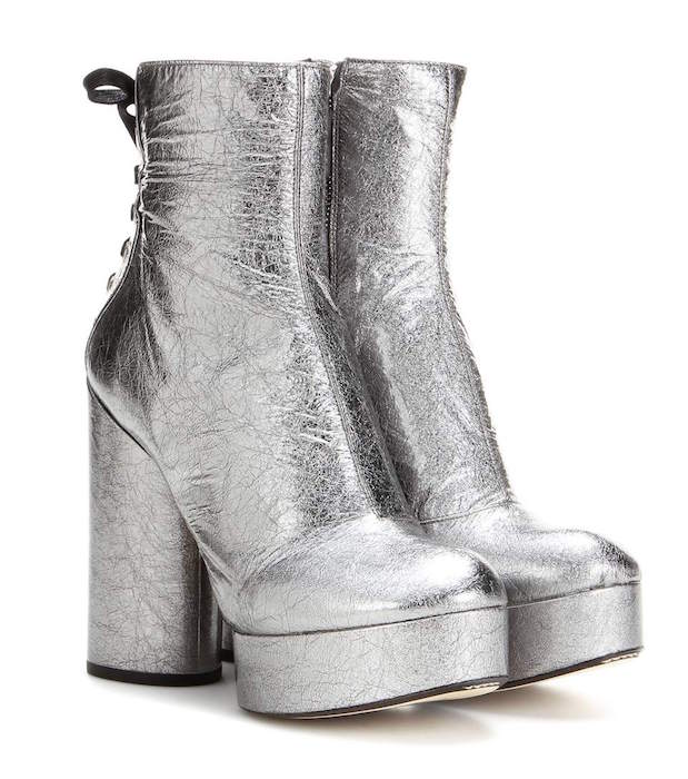 ce051a8f7de MARC JACOBS Metallic leather platform ankle boots