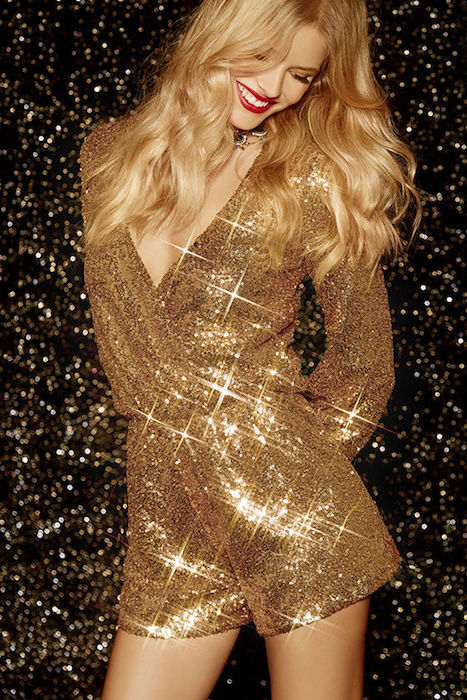 158a83e0df9d Good as Gild Gold Sequin Romper