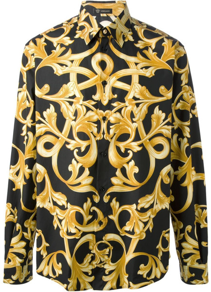 versace yellow baroque print shirt blingby. Black Bedroom Furniture Sets. Home Design Ideas
