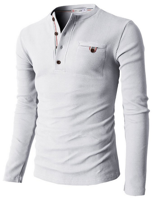 H2h Mens Bound Pocket Henley Shirts Of Waffle Cotton Blingby