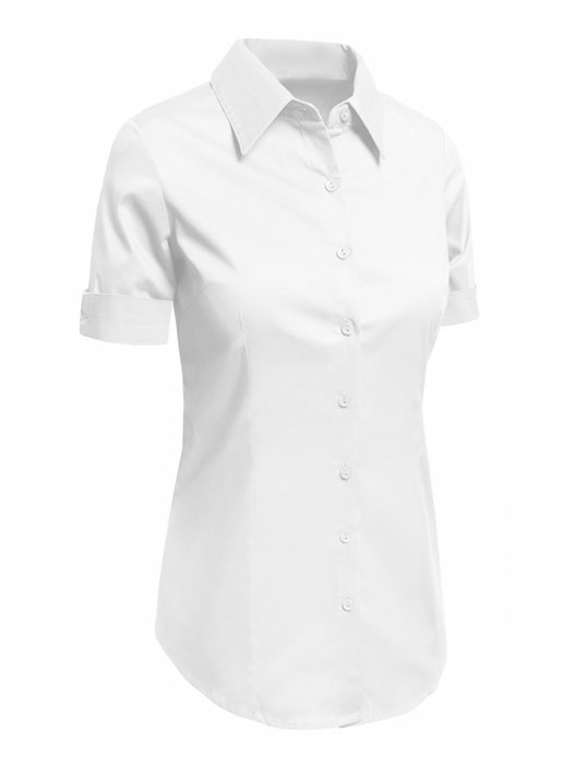 0f3bfe4a6ed5 LE3NO Womens Tailored Short Sleeve Button Down Shirt with Stretch ...