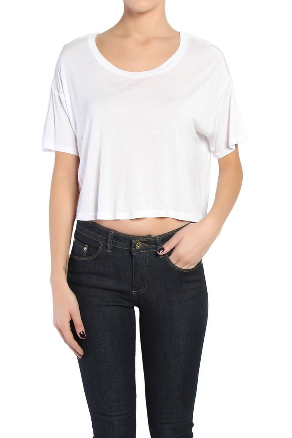 a68612b366 Themogan Women S Boxy Slouchy Short Sleeve Loose Crop Top