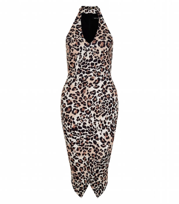 Brown Animal Print Funnel Neck Bodycon Dress