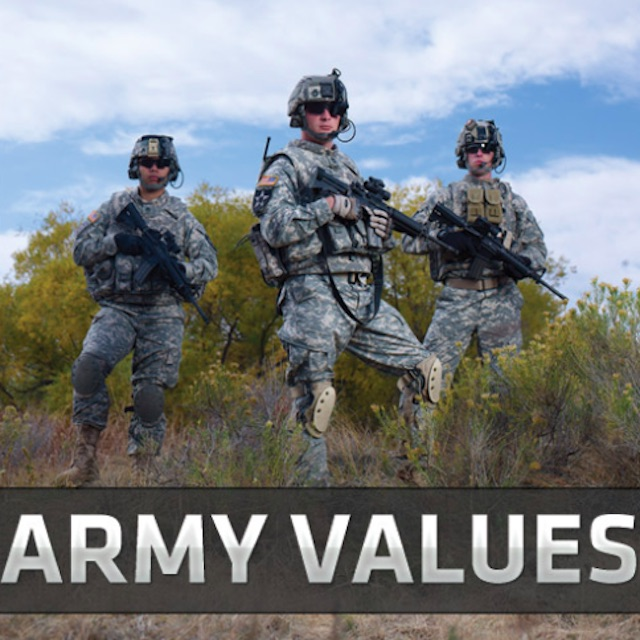 the seven army values essay Honor live up to army values the nation's highest military award is the medal of honor this award goes to soldiers who make honor a matter of daily living  soldiers who evelop the habit of being honorable, and get authentic custom essay samplewritten strictly according to your requirements.