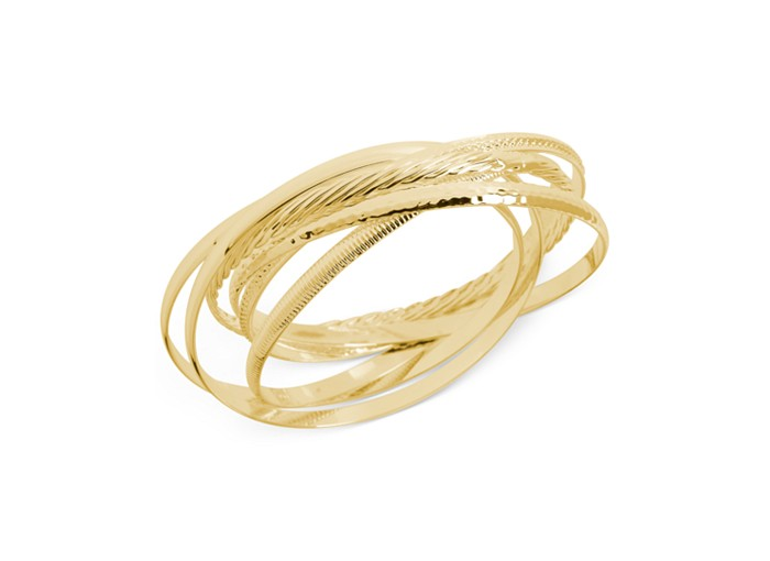 Touch Of Silver Textured Bangle Bracelet Set In 14K Gold-Plated Brass