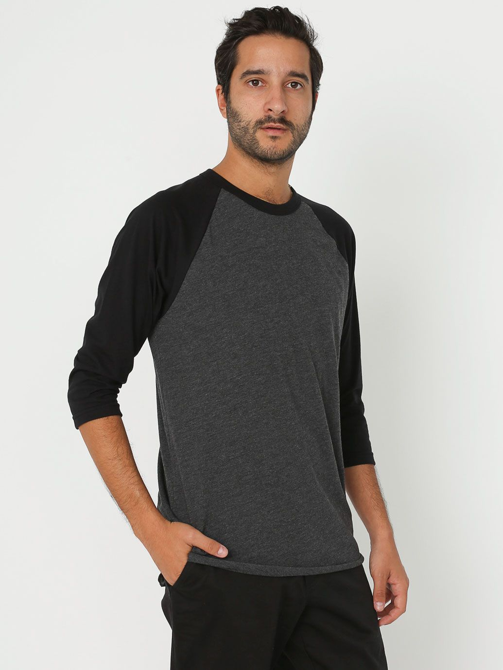 Poly Cotton 3 4 Sleeve Raglan Shirt Unissex Blingby