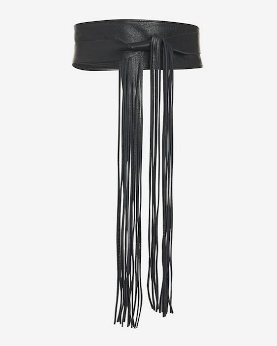 Brave Loop Fringe Leather Belt: Black