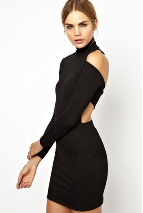 6d2175f0f82 Black Long Sleeve High Collar Cut Out Bandage Bodycon Dress