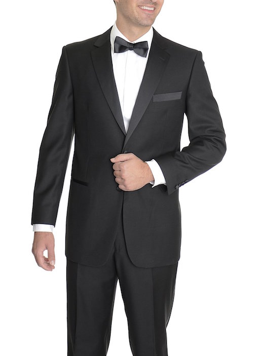 Renoir Classic Fit Solid Black Two Button Tuxedo Tux Suit
