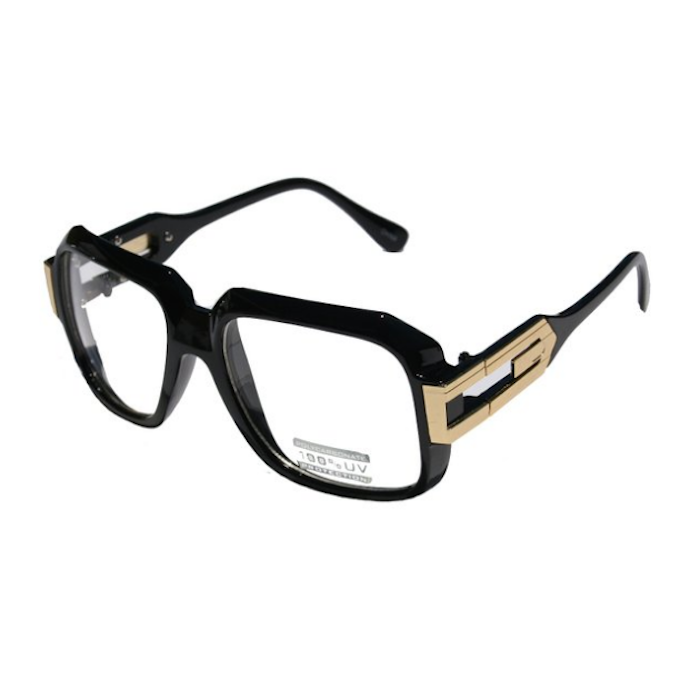 ce339ef43d99 Vision World Eyewear Large Classic Retro Square Frame RUN DMC Clear Lens  Glasses with Gold Accent