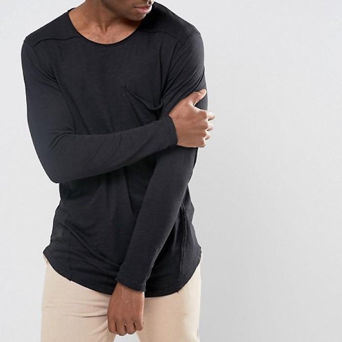 Black Kaviar Longline Long Sleeve T-Shirt With Big Pocket