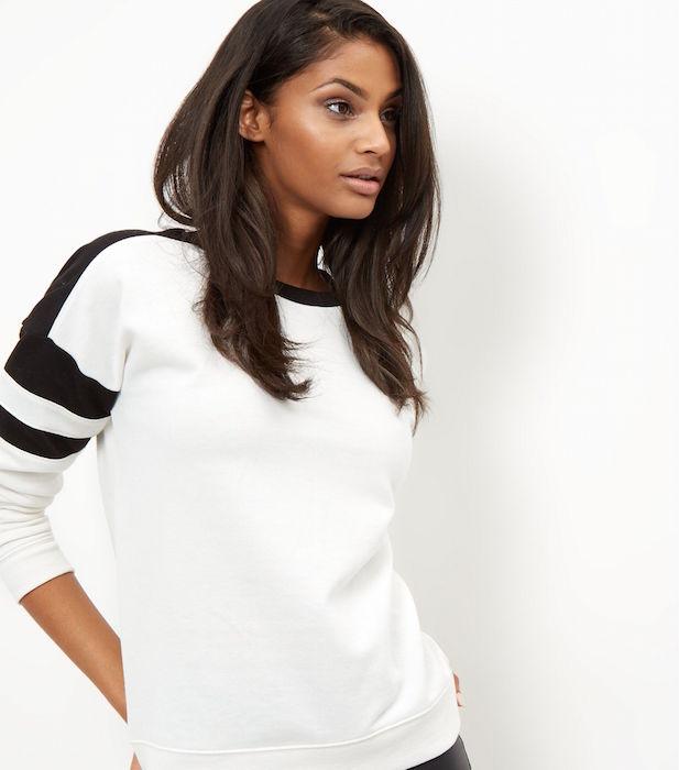 White Colour Block Sweater