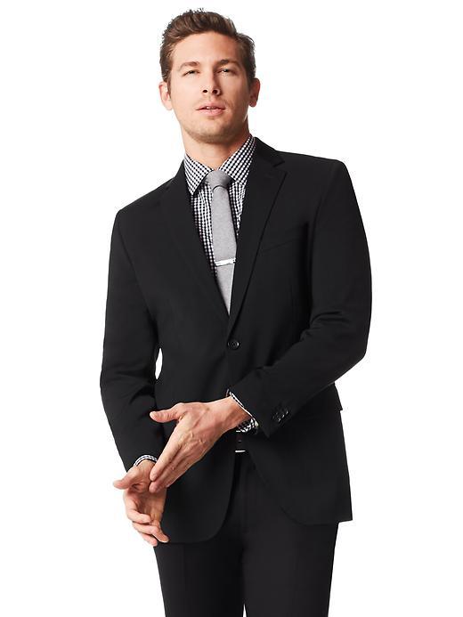 Tailored-Fit Black Italian Wool Suit Jacket