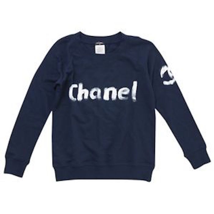 Chanel Limited Edition Navy Sweatshirt Hand-painted by Karl Lagerfeld