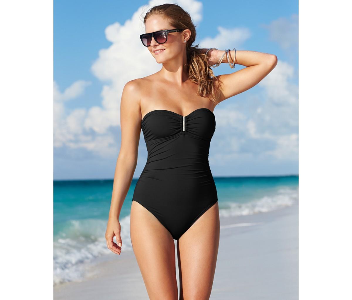 b73348c217388 Calvin Klein Bandeau One-Piece Swimsuit | Blingby