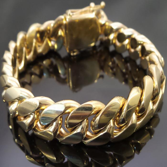 10K Yellow Gold Cuban Link Bracelet-173Grams