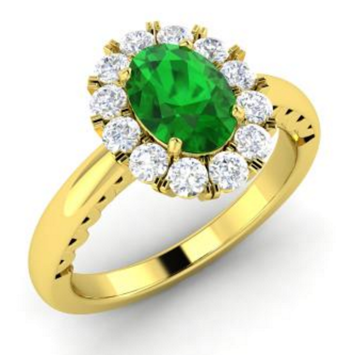 Taurina Oval-Cut Emerald and VS Diamond Halo Ring in 14k Yellow Gold
