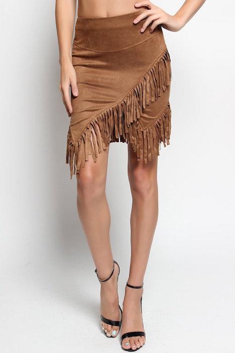 102b510b24 TheMogan Women's Asymmetric Fringe Wrap Faux Suede Mini Skirt | Blingby