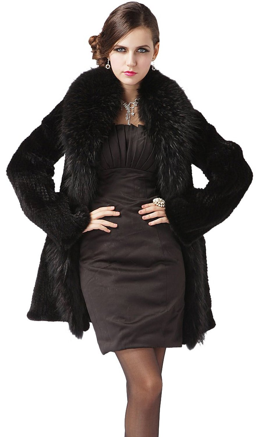 Queenshiny 100% Real Genuine Mink Fur Knitted Coat Jacket With Super Raccoon Collar